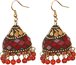Pahal Handmade Lac Red Pearl Hanging Black Big Gold Jhumka Earrings Dangle Indian Party Wear Bollywood Wedding Jewelry Set