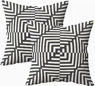 Ducan Lincoln Pillow Case 2PC 18X18,Funda De Almohada De Arte,Fundas De Funda De Almohada Cuadrada Patrón Geométrico Rayas Líneas Cuadrados Fondo De Ilusión Óptica Blanco Negro