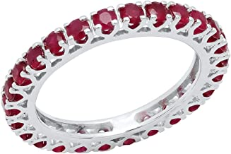 Dazzlingrock Collection 1.80 Carat (ctw) 10K Round Ruby Ladies Eternity Wedding Anniversary Stackable Band 1 3/4 CT, White Gold