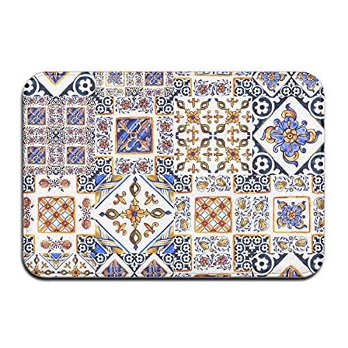 Arte de mayólica Italiana Acuarela sobre baldosas de cerámica en Forma de Azul, marrón, Verde, Amarillo, Alfombrilla para Puerta, Alfombra para Interiores y Exteriores, alfombras de Entrada