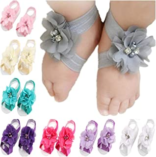 Baby Girl's Barefoot Sandals Flower for Toddlers (10 Mix Colors)