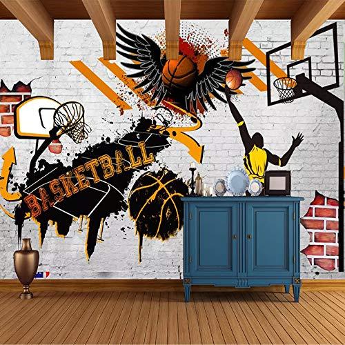 Papel tapiz mural 3D personalizado baloncesto póster foto fondo papel tapiz dormitorio mural 120x100cm a