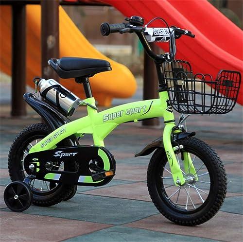 """CZALBL Vélo, Garçon et Fille pour Enfants 12 , 14 , 16 , 18  Vélo de sécurité Stable à 4 Roues de Plusieurs Tailles pour Enfants de 2 à 12 Ans Jouant à l'extérieur,E,16"""""""