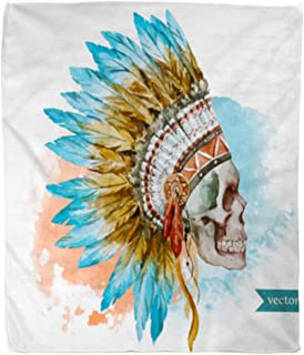 Golee Throw Blanket Chief War Bonnet Watercolor Skull Boho Indian Feathers Native Headdress 60x80 Inches Warm Fuzzy Soft Blanket for Bed Sofa