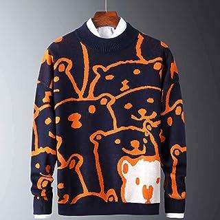 XYZMDJ Herr höst vardaglig tröja mönster mode smal passform tröja bomull långärmad rund hals herr varm pullover orange (fä...