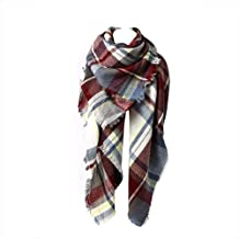 Spring Fever Winter Magnetic Knit Tartan Plaid Wrap Cashmere Feel Large Lightweight Scarf for Women