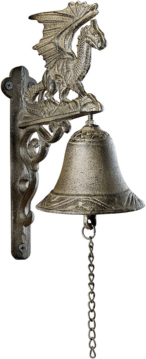 Design Toscano Dragon of Murdock Manor Gothic Iron Bell  Set of Two