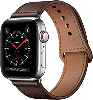 KYISGOS Compatible with iWatch Band 44mm 42mm, Genuine Leather Replacement Band Strap Compatible with Apple Watch Series 5 4 3 2 1 42mm 44mm, Chocolate Brown