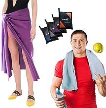Quick Dry Microfiber Absorbent Towel Set of 2 Buttoned Loop & Bonus Pouch Compact Lightweight Antibacterial for Beach Trav...