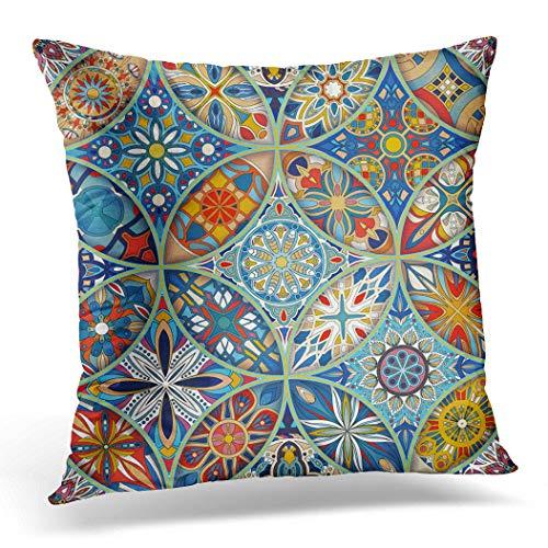 Topyee Funda de cojín marroquíes Mandalas vintage abstractas africanas batik bohemias alfombra oriental 45 x 45 cm, decoración del hogar, funda de almohada cuadrada para sofá cama