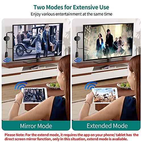 MPIO Wireless HDMI Display Dongle 4K, WiFi Streaming Dongle, Cast für iPhone/iPad/Android/iOS/Windows/Mac Laptop, Tablet, PC zu TV/Monitor/Projektor, Unterstützung von Airplay/Miracast/DLNA, schwarz