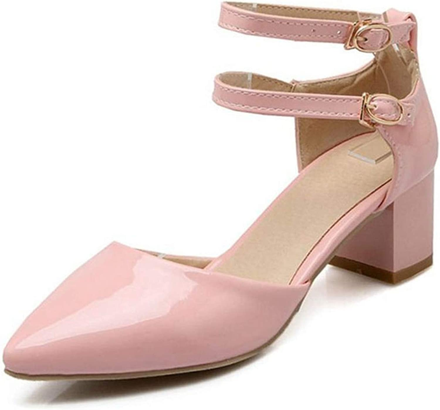 Fairly Elegant High Heel Ankle Strap Pointed Toe Thick Heel Summer Party shoes Sandal,Pink,5