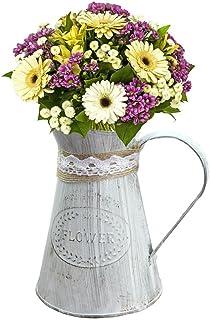 fancylande regadera de macetero, maceta de flores de metal a la antigua Pot Maceta de flor de hierro hecho a mano de Cáñamo para el adorno de jardinería