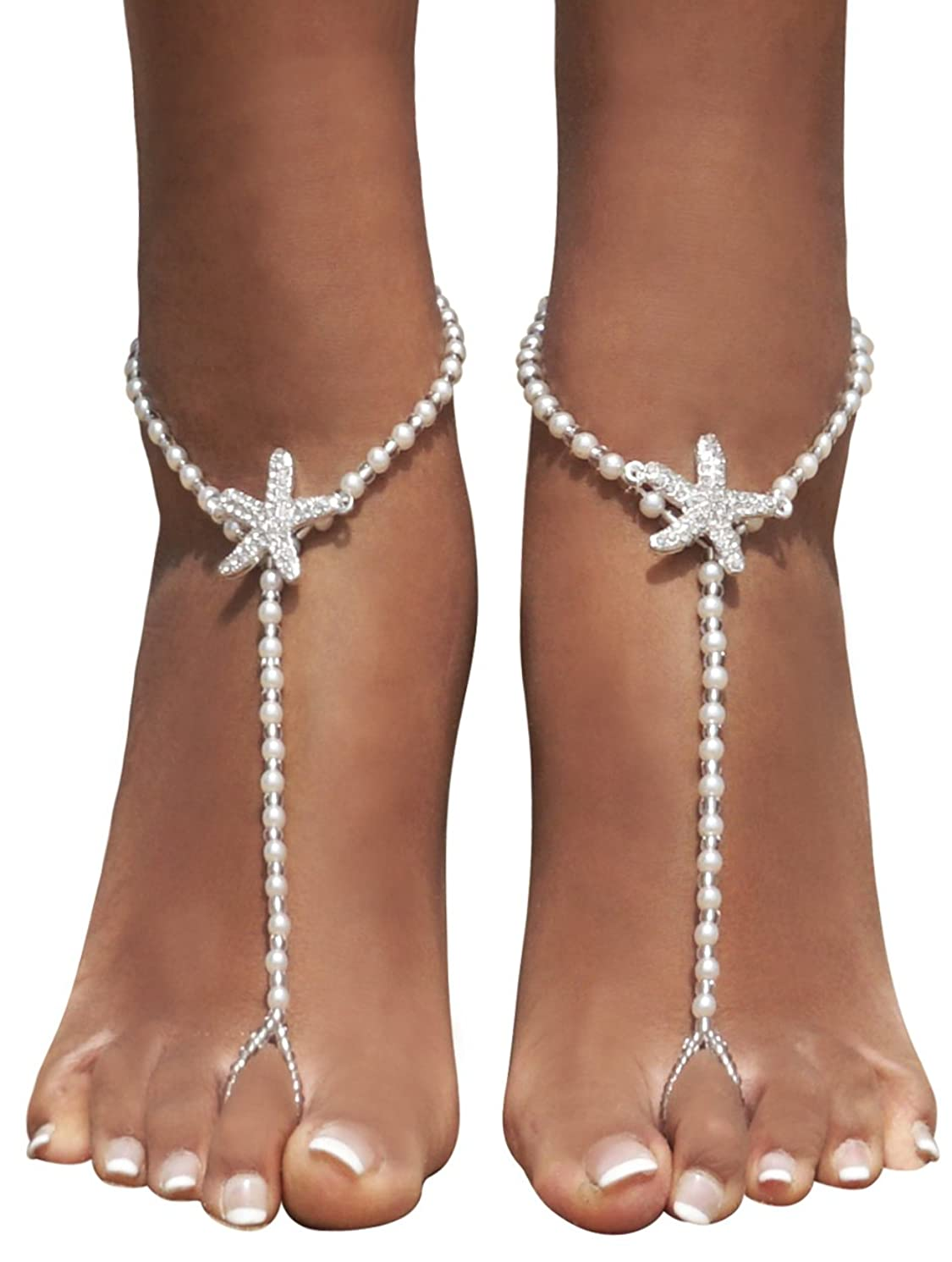 Bienvenu 2pcs Pearl Ankle Chain Bracelet Beach Wedding Foot Jewelry Barefoot Sandal Anklet Chain