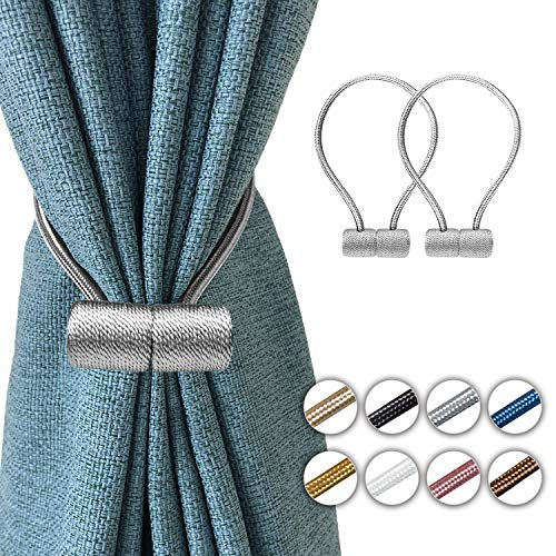 Elctman Magnetic Curtain Tiebacks Clips - Window Curtain Holdbacks for Home Office Decorative Rope Tie Backs, Curtain Tiebacks for Drapes, No Tools Required - 1 Pair -1grey