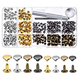 240 Sets Leather Rivets, Alritz Double Cap Rivet Tubular 4 Colors 2 Sizes Metal Studs with Fixing Tools for DIY Leather Craft/Clothes/Shoes/Bags/Belts Repair Decoration