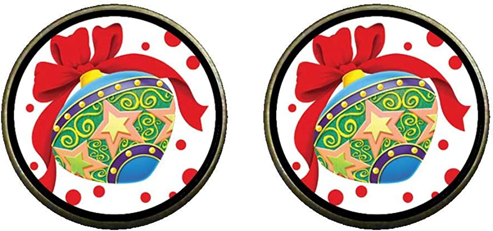 GiftJewelryShop Bronze Retro Style Red Bow Colorful Radish Photo Clip On Earrings 14mm Diameter