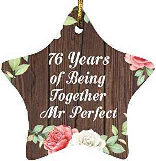 76th Anniversary 76 Years of Being Mr Perfect - Star Wood Ornament A Christmas Tree Hanging Decor - for Wife Husband Wo-Me...