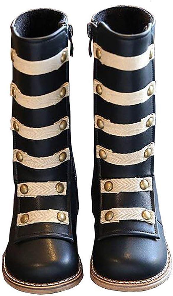 BININBOX Girls Knee Max 90% OFF High Leather Kansas City Mall Cotton Boots Winter Warm Rivet