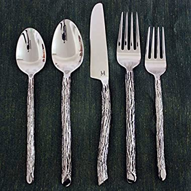 Bark Flatware 5 PC Setting x 4 Place Sets Hand Made Eco Friendly Stainless Steel