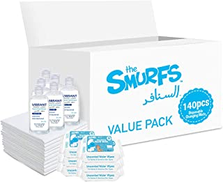 Smurfs Disposable Changing Mats 140 + Smurfs Water wipes 36 x6 + Vibrant Sanitizers 100 ML x6
