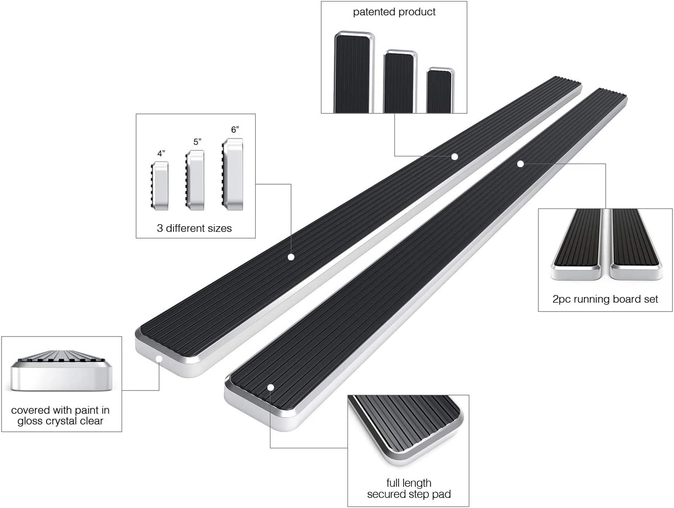 APS iBoard Running Boards 4 inches Matte Black Custom Fit 1987-2006 Wrangler Sport Utility 2-Door Nerf Bars Side Steps Side Bars