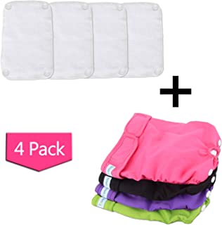Teamoy Reusable Female Dog Diapers with Removable Pads(Pack of 4), Washable Doggie Diaper Wraps for Female Dogs, Super-Absorbent, Comfortable and Stylish