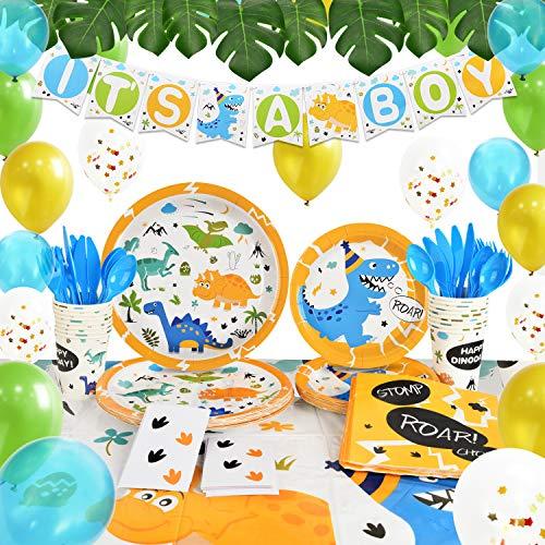 """WERNNSAI Dinosaurio Suministros Para la Fiesta - Baby ShowerDecoracion Fiesta Para Chicos """"It's A Boy"""" Bandera Vajilla PapelPlatosTazasServilletasEl Plastico MantelesSirve 16 Invitados 165 PCS"""