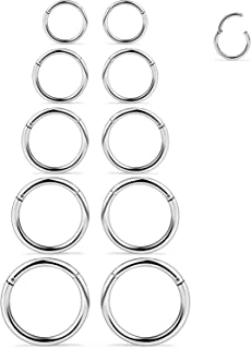 SCERRING 3-10PCS 16G Stainless Steel Hinged Clicker Segment Septum Nose Lip Ring Hoop Cartilage Tragus Sleeper Earrings Body Piercing Jewelry 8mm 10mm 12mm 14mm 16mm