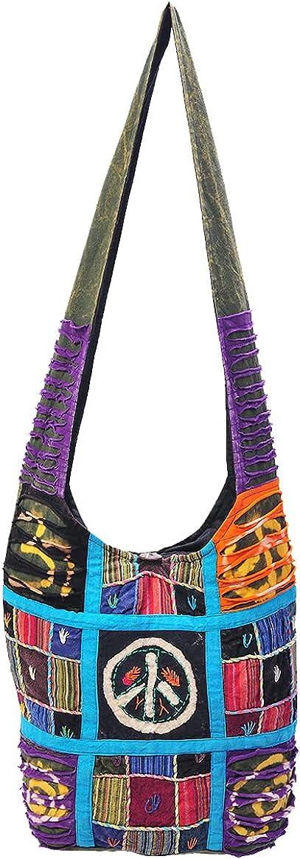 The Collection Royal Patchwork Cotton Sling Crossbody Shoulder Hobo Bag Hippie Boho Bohemian