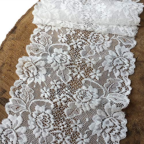 Olive Lace 6 inches Wide White Stretchy lace with Floral Pattern for Bridal Wedding Decorations, Sewing DIY Making and DIY Crafts- 5 Yards (7227white)