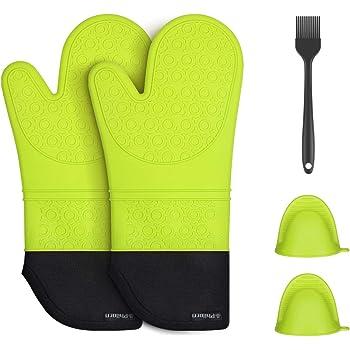 Antid/érapants et r/ésistants /à la chaleur 1/paire de gants de cuisine en silicone pour le four longues poign/ées avec 2 maniques noirs par Double Elite