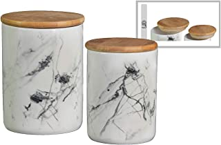 Benzara BM180700 Ceramic Canister with Lid, Set of Two, White, One Size