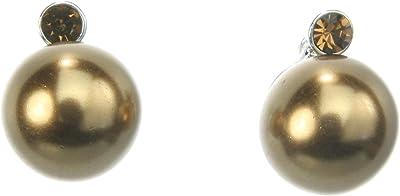 Piccoli orecchini oro colorato con perle e cristallo pietra–Orecchini Gioielli–gioielli di moda
