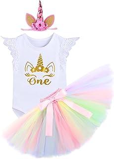 FYMNSI Newborn Baby Girls Cake Smash It's My 1st Birthday Outfits Romper Tulle Tutu Skirt Headband 3PCS Outfits