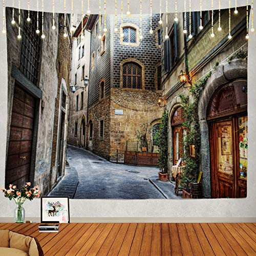 Shrahala Beautiful Tapestry, Florence Italy Wall Hanging Large Tapestry Psychedelic Tapestry Decorations Bedroom Living Room Dorm(39.4 x 59.1 Inches, Brown Street Scene)