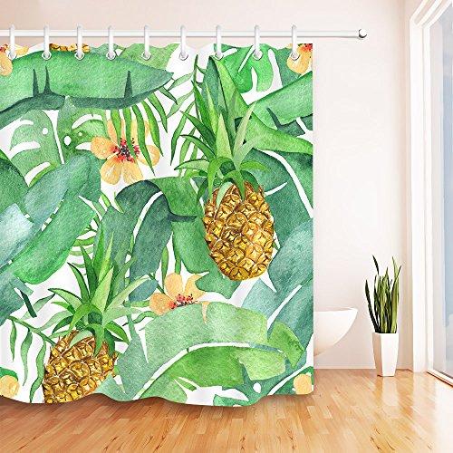 Tropisches Palmblatt wasserdicht Bade-Duschvorhänge, Bananen blätter Polyester Bad Vorhang Dekor, 65, 180x200