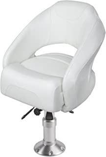 Wise 8WD1217-13-784 Razor Style Flip-Up Bolster Bucket Seat with Air-Powered Adjustable Height Pedestal,  White