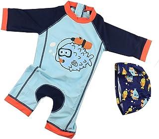 男の子の水着 子供用の水着 男の子の水着 小さな魚の子供の水着 水着水着 (サイズ : S)