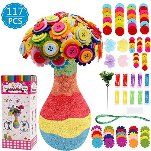 DigHealth DIY Vase with Flowers Craft Kit for Kids, Make Your Own Flower Bouquet by Buttons and Fabric, Crafts and Art Set Gift for Girls Boys Age 4 5 6 7 8 9 10 12 Years Old
