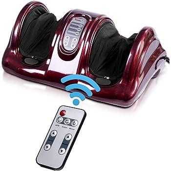 Giantex Shiatsu Foot Massager Machine Massage for Feet, Nerve Pain Therapy Spa Gift Deep Kneading Rolling Massage for Leg Calf Ankle, Electric Shiatsu Foot Massager w/Remote, Burgundy