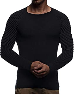 Men's Cable Knit Sweater Tops, Man Striped Pleated Long Sleeve Crew Neck Jumper Pullover Sweatshirt
