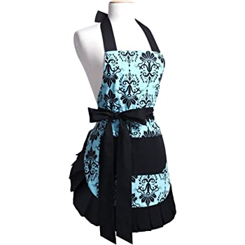 Mothers Aprons for Women with Pockets, Extra Long Ties, Vintage Damask Apron, Perfect for Kitchen Cooking, Baking and Gardening, 29 x 21 - inch (Adult Women)