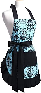 Floral Aprons for Women with Pockets, Extra Long Ties, Vintage Damask Apron, Perfect for Kitchen Cooking, Baking and Gardening, 29 x 21 - inch (Adult Women)