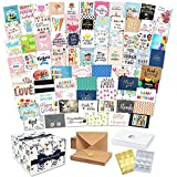 100 All Occasion Cards Assortment Box with Envelopes and Stickers - Large 5x7 Inch Bulk Blank Greeting Notes, 100 Unique Designs in a Sturdy Card Organizer Box