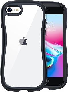 TORRAS Sライン iPhone SE 2 用 ケース iPhone 8 7 用 ケース 米軍MIL規格 超高耐衝撃 10倍黄変防止 クリア ストラップ穴付き 持ち易い S流線型 アイフォン SE第二世代 8 7 用カバー 4.7インチ ブラック