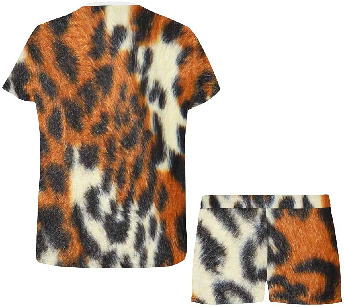 InterestPrint Tiger Background Women's Pajama Sets Short Sleeve Shorts - Pajamas for Women