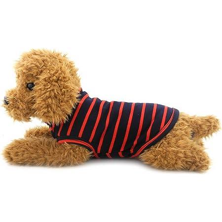 Ranphy 猫 ネコ ねこ 洋服 春夏 タンクトップ ストライプ Tシャツ ノースリーブ 犬の服、小型犬、チワワ ドッグウェア レッド M