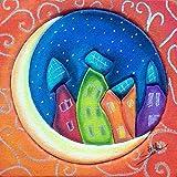 Stella Cuadro Forrado de Tela y Pintado a Mano con Pastel Luna Tamaño 10 x 10 cm. Listo para Colgar.Cuadros para salón, Cuadro Artesanal, Handmade,Cuadro para habitación, Cuadro Infantil