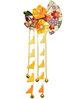 Pomeat Japanese Kimono Flower Hair Clip Kanzashi Hair Ornament Tie Band Clip for Womens Girls Kimono Hanfu Accessories - Yellow